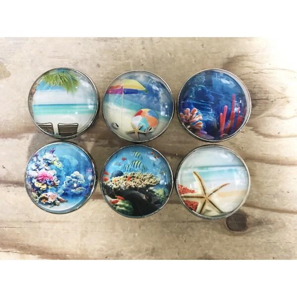 Glass/Chrome Tropical Ocean Beach Theme Drawer Pulls (Set of 6 ...