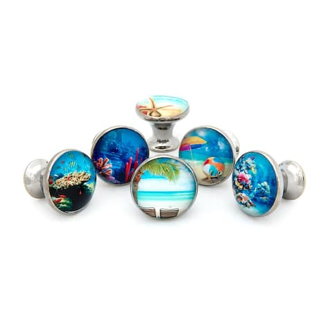 Tropical Ocean Beach Theme Glass Drawer Pulls - Set of 6
