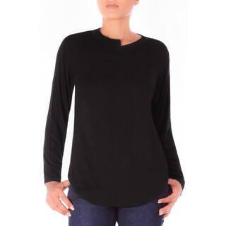 Bluberry Denim Women's Black Cotton/ Spandex High-low Tee|https://ak1.ostkcdn.com/images/products/16393106/P22743463.jpg?impolicy=medium
