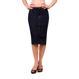 Bluberry Women's Rinsed Blue Knee-length Skirt