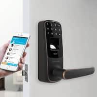 Ultraloq UL3 BT Bluetooth Enabled Fingerprint and Touchscreen Smart Lock (Aged Bronze) - Black
