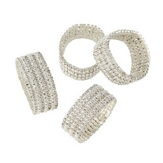 Glass Stone Jeweled Napkin Ring - Set of 4