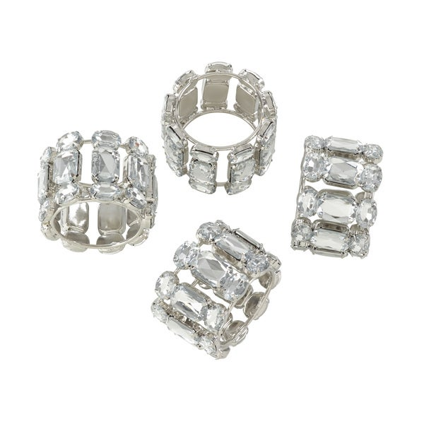 Jeweled Gem Stone Napkin Ring - Set of 4