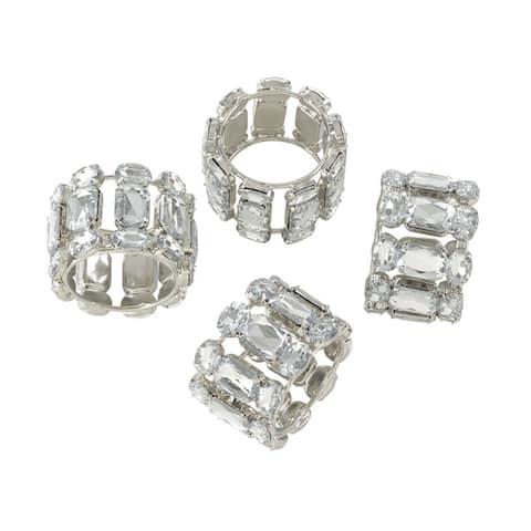 Jeweled Gem Stone Napkin Ring - Set of 4