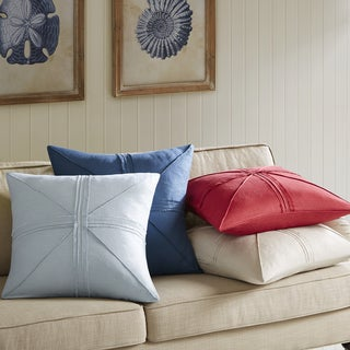 Madison Park Enid Oversized Linen Frayed Feather and Down Filled Throw PIllow 24-inch
