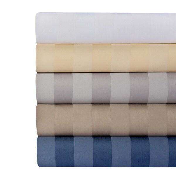 Cotton Rich 650 Thread Count Damask Stripe 4-piece Sheet Set