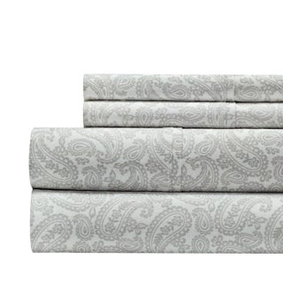 100% Cotton 300 Thread Count Paisley Print 4-Piece Sheet Set (More options available)