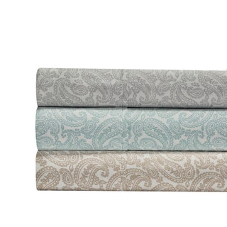 100% Cotton 300 Thread Count Paisley Print 4-Piece Sheet Set