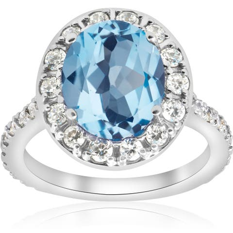 14k White Gold 4 cttw Blue Topaz Diamond Halo Vintage Ring Engagement (I-J,I2-I3)