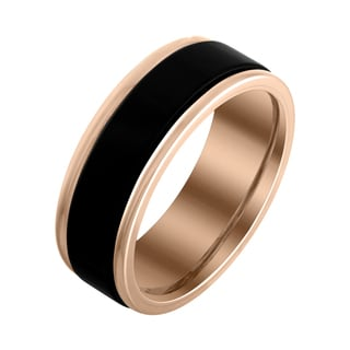 Men's 8mm Black and Rose Edged Tungsten Band