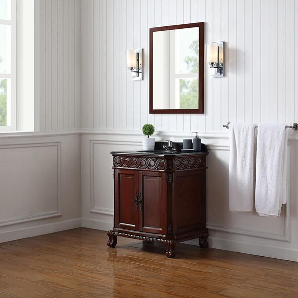 Shop Ove Decors Trent Dark Cherry Wood 30 Inch Bathroom