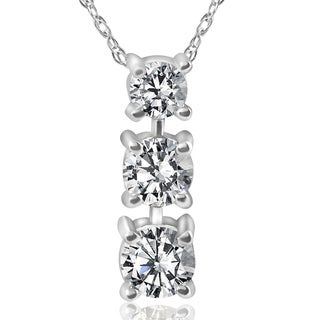 14k White Gold 3/4 ct TDW 3-Stone Diamond Pendant (I-J, I2-I3)