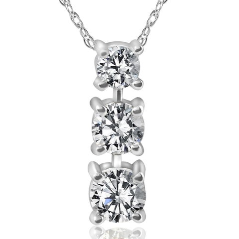 14k White Gold 1/2 ct TDW 3-Stone Diamond Pendant (I-J, I2-I3)