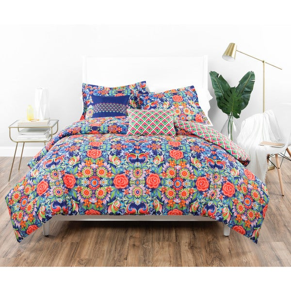 Catalina Estrada Rosal Azul Navy/ Red Comforter Set
