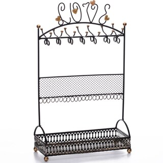 Ikee Design Metal Black Jewelry Display Stand Hanger Organizer with L-O-V-E