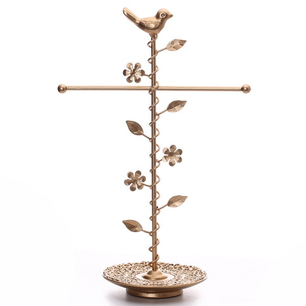 Matte Gold Color T-bar with a Bird Jewelry Stand Organizer Storage. Opens flyout.