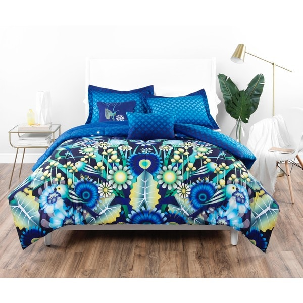 Catalina Estrada Jardin Navy & Green Comforter Set