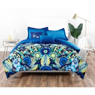 Catalina Estrada Jardin Navy & Green Comforter Set