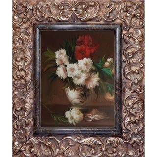 Edouard Manet 'Peonies In A Vase' Hand Painted Framed Oil Reproduction on Canvas
