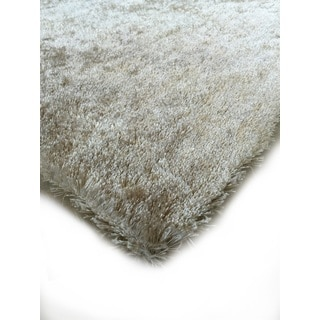 Hand-tufted Solid Beige Shag Area Rug (6'6 x 9'2)