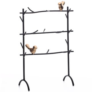 Ikee Design Black Metal Jewelry Rack with Branches and Birds Decoration