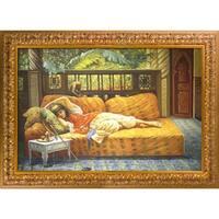 Frederick Arthur Bridgman 'The Siesta' Hand Painted Framed Oil Reproduction on Canvas