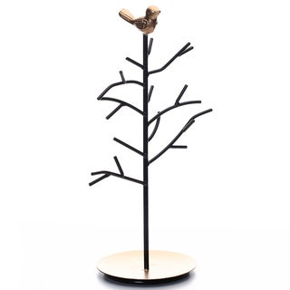 Ikee Design Black Metal Jewelry Branches Stand Rack with A Bird Decoration