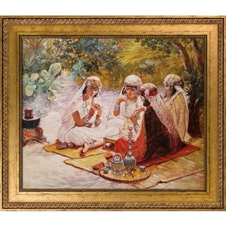 Frederick Arthur Bridgman 'The Card Players' Hand Painted Framed Oil Reproduction on Canvas