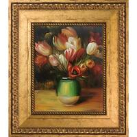 Pierre-Auguste Renoir 'Tulips in a Vase' Hand Painted Framed Oil Reproduction on Canvas