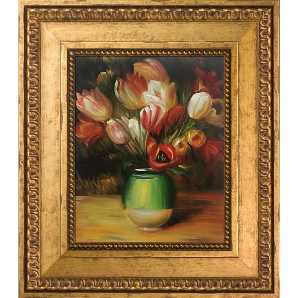 Pierre-Auguste Renoir 'Tulips in a Vase' Hand Painted Framed Oil Reproduction on Canvas. Opens flyout.