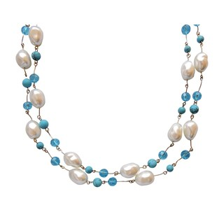 """Pearl, Turquoise, Crystal Necklace Set - 55"""""""