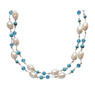 Pearl, Turquoise, Crystal Necklace Set - 55""
