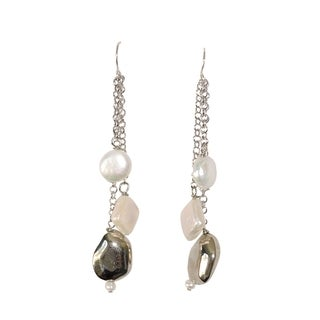 Sterling Silver and Freshwater Pearls Link Chain Earrings