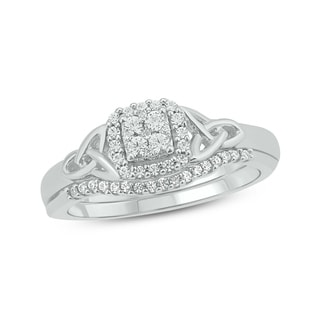 1/4 Carat White Diamond Celtic Design Bridal Composite Ring In .925 Sterling Silver