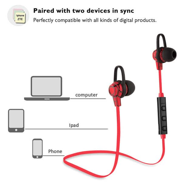 Shop Cracks Bluetooth V4 1 Sports Headphone In Ear Stereo Ear Buds With Ear Hooks Flat Wire Built In Mic Hands Free Calling Overstock 16394499 Black