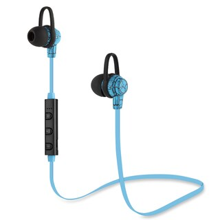 Cracks Bluetooth V4.1 Sports Headphone in-ear Stereo Ear Buds With Ear Hooks Flat Wire Built-in Mic Hands-free Calling (Option: Blue)