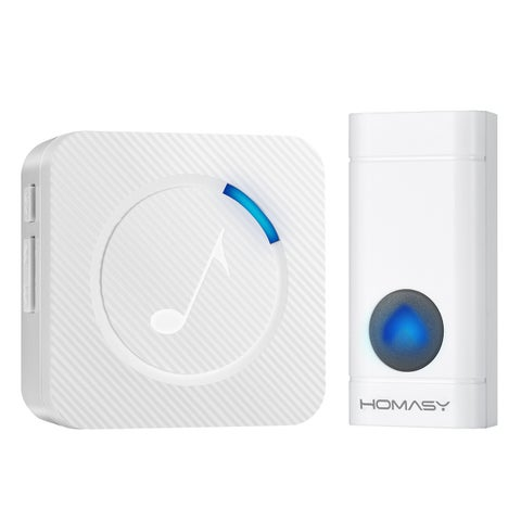 Wireless Doorbell with 1 Push Button Waterproof Transmitter and 1 Plug-in Receiver Operating at 600-feet Range