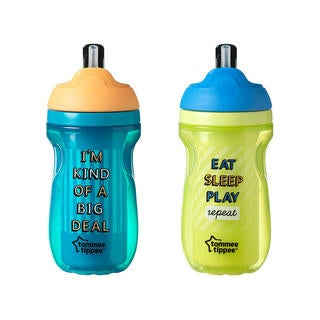 Tommee Tippee Aqua/Neon Green 9-ounce Insulated Straw Tumbler (Pack of 2)