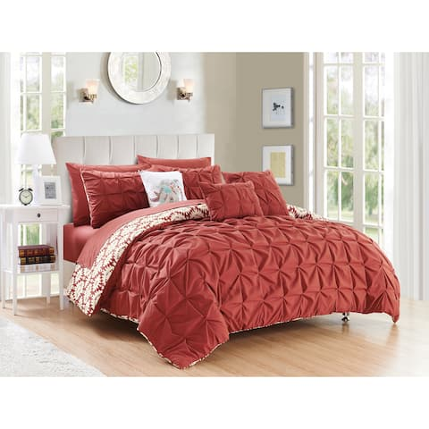 Chic Home Yabin Brick Red 10-piece Reversible Complete Bed in a Bag Comforter Set