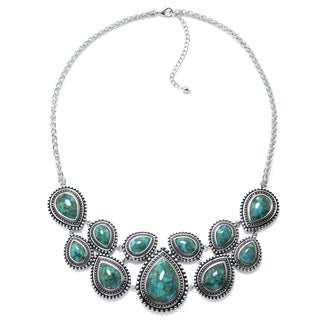 Sterling Silver Enhanced Turquoise Bib Necklace