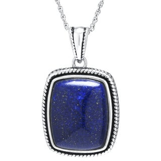 Sterling Silver Dyed Blue Lapis Rectangular Pendant Necklace