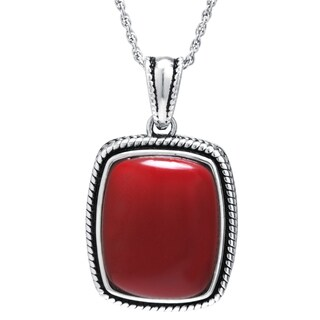 Sterling Silver Simulated Red Jasper Rectangular Pendant Necklace