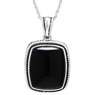 Sterling Silver Black Onyx Rectangular Pendant Necklace