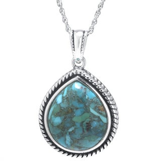 Sterling Silver Enhanced Turquoise Teardrop Pendant Necklace
