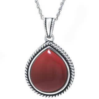 Sterling Silver Simulated Red Jasper Teardrop Pendant Necklace