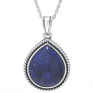 Sterling Silver Dyed Blue Lapis Teardrop Pendant Necklace