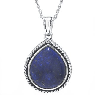 Sterling Silver Dyed Blue Lapis Teardrop Pendant Necklace