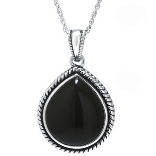 Sterling Silver Black Onyx Teardrop Pendant Necklace