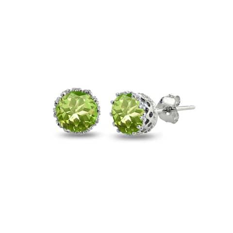 Glitzy Rocks Sterling Silver Round-cut Birthstone Crown Stud Earrings