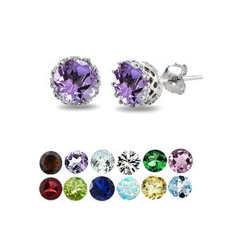 Glitzy Rocks Sterling Silver Round-cut Birthstone Crown Stud Earrings